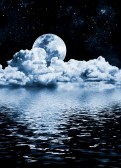 10311210-the-moon-setting-over-clouds-and-water-with-reflections